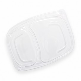 Plastic Lid Transparente Container 2C OPS 1050/1250ml 25,5x18,9x2cm (20 Units)