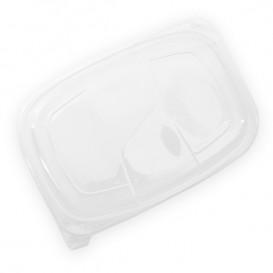 Plastic Lid Translucent Container PP 1050/1250ml 25,5x18,9x2cm (20 Units)