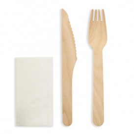 Wooden Varnished Cutlery Set of Fork, Knife and Napkin (250 Sets)
