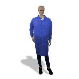 Disposable Lab Coat NonWoven Velcro Dark Blue XL (100 Units)