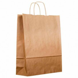 Paper Bag with Handles Kraft Brown 100g 22+11x27cm (25 Units)