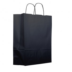 Paper Bag with Handles Kraft Black 100g 25+11x31cm (200 Units)