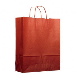 Paper Bag with Handles Kraft Red 100g 25+11x31cm (200 Units)