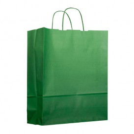 Paper Bag with Handles Green 100g 25+11x31cm (25 Units)