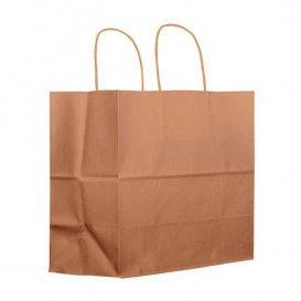 Paper Bag with Handles Kraft Brown 100g 27+14x26 cm (200 Units)