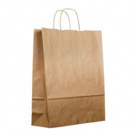 Paper Bag with Handles Kraft Brown 100g 25+13x33 cm (200 Units)