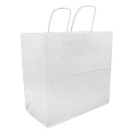 Paper Bag with Handles Kraft White 100g 27+14x26cm (200 Units)