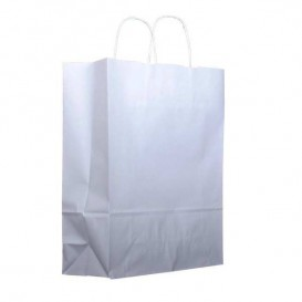Paper Bag with Handles Kraft White 100g 25+11x31cm (200 Units)