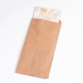 Paper Cutlery Envelopes Kraft 11x24cm (125 Units)