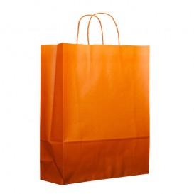 Paper Bag with Handles Orange 100g 25+11x31cm (25 Units)