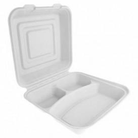 "Sugarcane Hinged Container ""Menu Box"" White 3C 24x23x7,6cm (50 Units)"