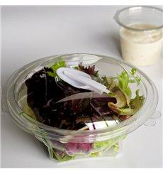 Plastic Salad Bowl APET Round shape with Spoon 250ml Ø12cm (360 Units)