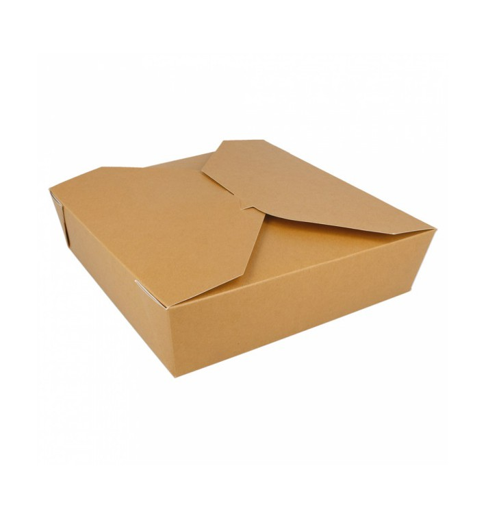 """Paper Take-out Container """"American"""" Natural 21,7x21,7x6cm 2910ml (140 Units)"""