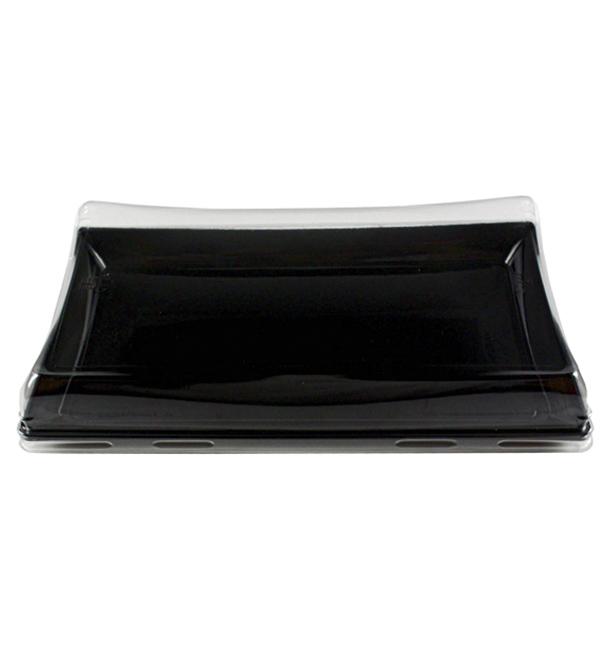Plastic Tray with Lid Black 12x22cm (15 Units)