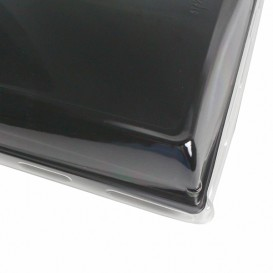 Plastic Tray with Lid Black 16x22cm (120 Uds)