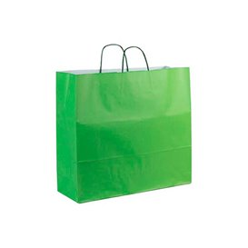 Paper Bag with Handles Green 100g 22+9x23cm (200 Units)