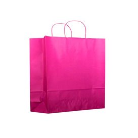 Fuchsia paper bag with handles 100g 22+9x23 cm (200 units)