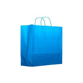 Paper Bag with Handles Turquoise 80g 22+9x23cm (200 Units)