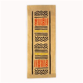 """Paper Cutlery Envelopes with Napkin """"Tribal"""" (125 Units)"""