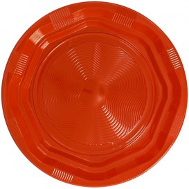 Plastic Plate Round shape Octogonal Orange Ø22 cm (25 Units)