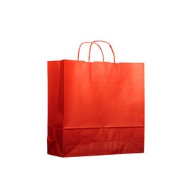 Paper Bag with Handles Kraft Red 100g 22+9x23cm (200 Units)