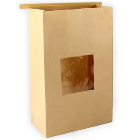 Paper Bag without Handle Kraft and Window 15+7x23cm (50 Uds)