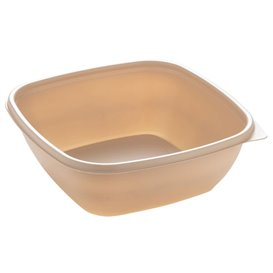 Plastic Deli Container PP Cream 750ml 16,5x16,5x6cm (50 Units)