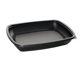 Plastic Deli Container PP Black 600ml 23x16,5cm (75 Units)