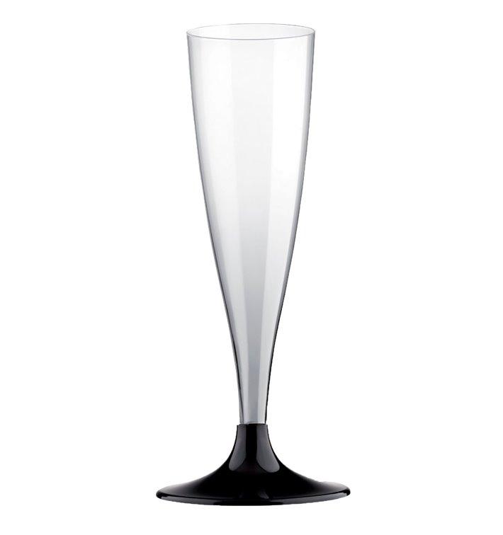 Plastic Stemmed Flute Sparkling Wine Black 140ml 2P (500 Units)