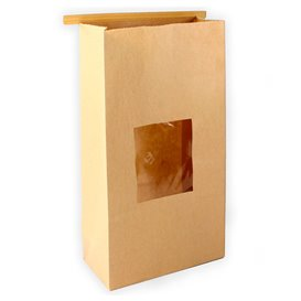 Paper Bag without Handle Kraft and Window 9+6x26cm (1000 Uds)