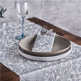 "Airlaid Tablecloth Roll 0,4x48m ""Versalles"" Grey 50g/m² P30cm (6 Units)"