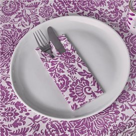 "Pocket Fold Airlaid Napkins ""Versalles"" Purple 33x40cm 55g/m² (800 Units)"