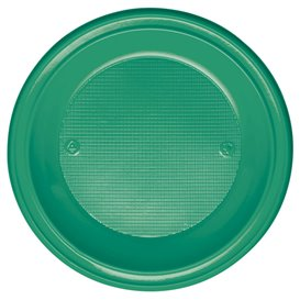 Plastic Plate PS Deep Green Ø22 cm (30 Units)