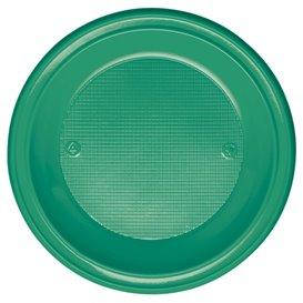 Plastic Plate PS Deep Green Ø22 cm (600 Units)
