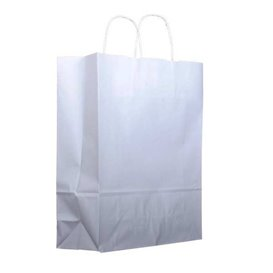 Paper Bag with Handles Kraft White 100g 25+13x33cm (200 Units)