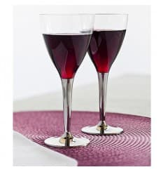 Plastic Stemmed Glass Wine Silver 130ml (10 Units)