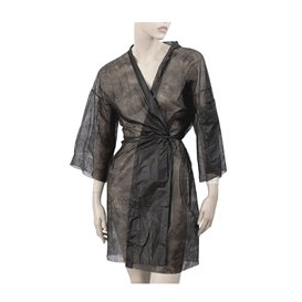 "Disposable Lab Coat ""Kimono"" ""TST"" PP Black XL (100 Units)"