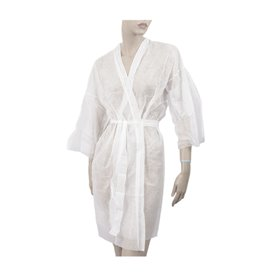 "Disposable Lab Coat ""Kimono"" ""TST"" PP Tie Belt Pocket White XL 15gr (10 Units)"