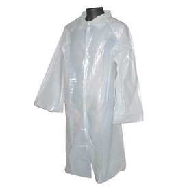 Disposable Lab Coat PE with Closure Button White (200 Units)