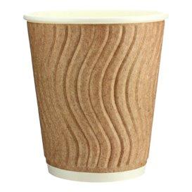 Paper Cup Ripple Wall Kraft 9 Oz/270ml Ø8,0cm (30 Units)