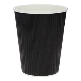 Paper Cup Ripple Wall Black 12 Oz/360ml Ø8,7cm (25 Units)