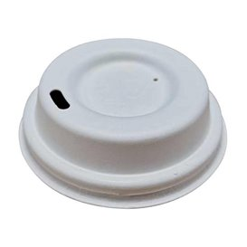 Lid with Hole of Moulded Cellulose Fibre White Ø6,2cm (50 Units)