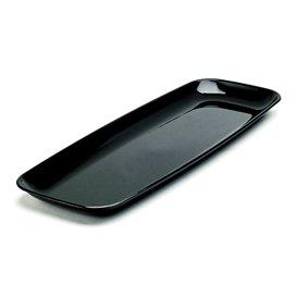 Plastic Tray Rectangular Shape Hard Black 17x45cm (25 Uds)
