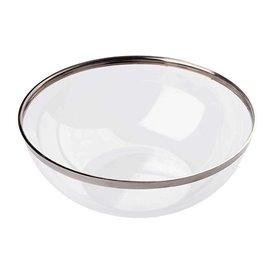 Plastic Bowl with Rim PS Crystal Hard Silver 3500ml Ø27cm (4 Units)