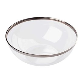 Plastic Bowl with Rim PS Crystal Hard Silver 3500ml Ø27cm (40 Units)