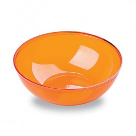 Plastic Bowl PS Crystal Hard Orange 400ml Ø14cm (4 Units)