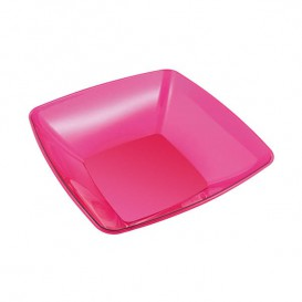 Plastic Bowl PS Crystal Hard Raspberry 480ml 14x14cm (4 Units)