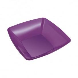 Plastic Bowl PS Crystal Hard Eggplant 480ml 14x14cm (4 Units)