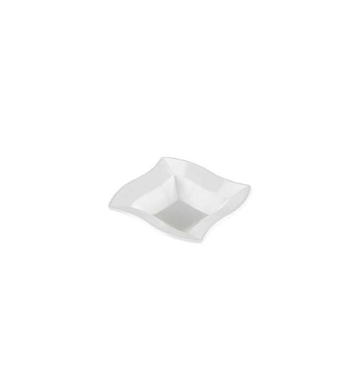 "Plastic Bowl PS Square shape ""Ondas"" White 18x18cm (360 Units)"