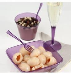 Plastic Stemmed Flute Sparkling Wine Eggplant 100ml (6 Units)